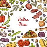 Vector hand drawn pizza ingridients and spices background with empty space in center for text. Sketch pizza with cheese and tomato ingredients illustration Royalty Free Stock Photos