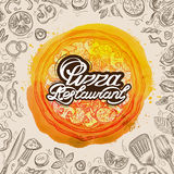Vector hand drawn pizza restaurant sketch and food doodle Stock Image
