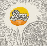 Vector hand drawn pizza restaurant sketch and food, drinks doodle Royalty Free Stock Photography