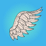 Vector hand drawn pop art illustration of angel wing. Stock Photography