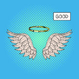 Vector hand drawn pop art illustration of angel wings and nimbus Royalty Free Stock Images