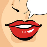 Vector hand drawn pop art illustration of beautiful red woman lips Royalty Free Stock Photos
