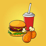 Vector hand drawn pop art illustration of burger, chicken legs,. And soda cup. Fast food. Retro style. Hand drawn sign. Illustration for print, web Stock Images