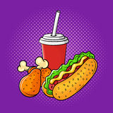 Vector hand drawn pop art illustration of chicken legs, soda cup. And hot dog. Fast food. Retro style. Hand drawn sign. Illustration for print, web Stock Photos