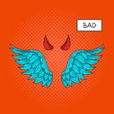 Vector hand drawn pop art illustration of devil wings. And devil horns at the top. Retro style. Hand drawn sign. Illustration for print, web Royalty Free Stock Image