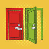 Vector hand drawn pop art illustration of doors. Open and closed Royalty Free Stock Photo