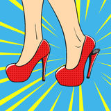 Vector hand drawn pop art illustration of an elegant woman shoes Stock Photos