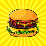 Vector hand drawn pop art illustration of hamburger. Royalty Free Stock Images