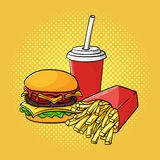 Vector hand drawn pop art illustration of hamburger, french frie Royalty Free Stock Photos