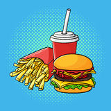 Vector hand drawn pop art illustration of hamburger, french fries. And soda cup. Fast food. Retro style. Hand drawn sign. Illustration for print, web Stock Photography