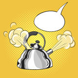 Vector hand drawn pop art illustration of kettle Stock Images