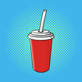 Vector hand drawn pop art illustration of soda cup. Fast food. Retro style. Hand drawn sign. Illustration for print, web Royalty Free Stock Images
