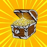 Vector hand drawn pop art illustration of wooden chest with gold Stock Photos