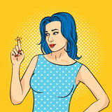 Vector hand drawn pop art illustration of young woman with the Reminder String on the finger. Retro style. Hand drawn sign. Illustration for print, web Stock Images