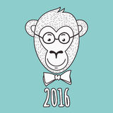 Vector hand drawn portrait of geek monkey. 2016 Happy New Year g Royalty Free Stock Photos
