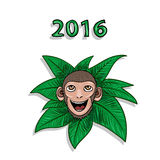 Vector hand drawn portrait of geek monkey. 2016. Monkey 2016 - hand drawn sketch style cartoon illustration. New year vector Royalty Free Stock Photo