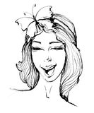 Vector hand drawn portrait of stylish girl twinkling with smile and butterfly on hair on white background. royalty free illustration