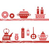 Vector hand drawn poster in the style of `Hygge`. Kitchenware in the Scandinavian folk patterns. royalty free stock image