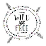 Vector hand drawn poster with text  Wild and Free Stock Photography