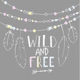 Vector hand drawn poster with text  Wild and Free Stock Photos