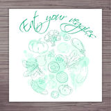 Vector hand drawn poster with vegetables circle and label - eat your veggies Stock Images