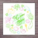 Vector hand drawn poster with vegetables circle and label - eat your veggies Stock Photos