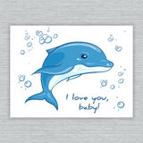 Vector hand drawn printable illustration with cartoon dolphin and bubbles Royalty Free Stock Photo