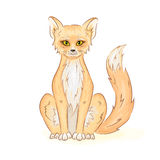 Vector hand drawn printable illustration of colorful cute sitting fox or cat. Can be printed on t-shirt, pillow, cup, phone case Stock Images