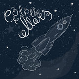 Vector hand drawn printable illustration of flying rocket with stars and milky way on the background and label - go to the Mars Stock Photography