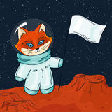 Vector hand drawn printable illustration of fox astronaut with flag on the mars Stock Image