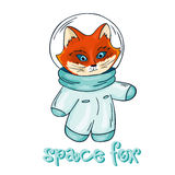 Vector hand drawn  printable illustration of fox astronaut with label - space fox Royalty Free Stock Photos