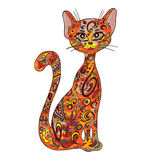 Vector hand drawn printable illustration of sitting zentangle cat. Can be printed on mug, pillow, t-shirt Stock Images