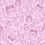 Vector hand drawn purple witch bottles seamless pattern on the pink background. Black outline of potions, elixirs, vials and cauldrons. Cute halloween design Royalty Free Illustration
