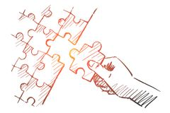 Hand drawn human arm completing puzzle. Vector hand drawn puzzle hand concept sketch with pencil over it. Human hand completing whole puzzle with last piece Royalty Free Stock Photo