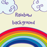 Vector hand drawn rainbow and clouds good weather background Stock Photography