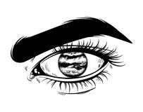 Vector hand drawn realistic illustration of human eye. With planet instead pupil. Tattoo artwork. Template for card, poster, banner, print for t-shirt, textiles Stock Photography