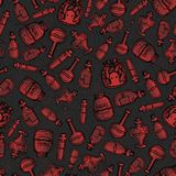 Vector hand drawn red witch bottles seamless pattern on the dark gray background. Includes potions, elixirs and vials. Of different shapes. Halloween design Royalty Free Illustration
