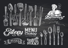 Vector hand drawn restaurant sketch and cafe doodle Stock Image