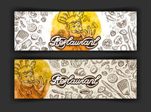 Vector hand drawn restaurant sketch and food doodle Royalty Free Stock Image