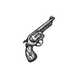 Vector hand drawn revolver illustration. Vector black work tattoo dot art hand drawn engraving style vintage revolver pistol illustration isolated white Stock Photos