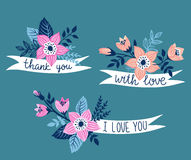 Vector hand drawn ribbon with flowers and stylish phrase - 'thank you'. Royalty Free Stock Photos