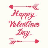 Vector hand drawn romantic Happy Valentines Day calligraphy banner decorated floral pink arrows. Cute handwritten romantic Happy Valentines Day calligraphy royalty free illustration