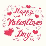 Vector hand drawn romantic Happy Valentines Day calligraphy banner decorated floral pink ornate hearts. Cute handwritten romantic Happy Valentines Day vector illustration