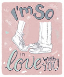 Vector hand drawn romantic poster with hugging couple and handwritten lettering quote - I am so in love with you Royalty Free Stock Photo