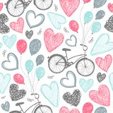 Vector hand drawn romantic seamless pattern. Bicycles, hearts doodle style, black and white vintage background. Wedding vector illustration