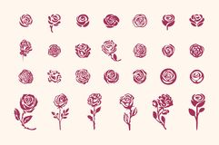 Vector hand drawn rose symbol simple sketch illustration on light background stock illustration