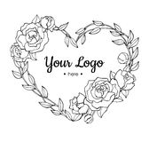 Vector hand drawn rose wreath in heart shape illustration. Stock Image