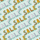 Vector hand drawn Sale pattern. Doodle discount shopping decoration. Vector seamless texture for backdrop, banners for online shop Stock Photos