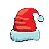 Vector hand drawn santa hat  on white Stock Photo