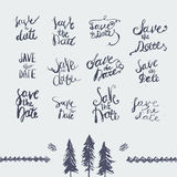 Vector hand drawn save the date lettering set. Can Stock Photo